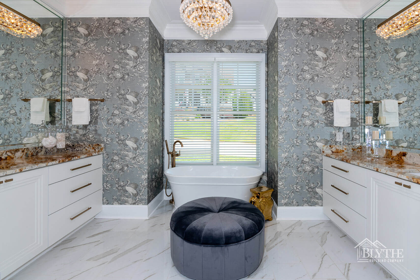 master bathroom with chandelier home builder sc