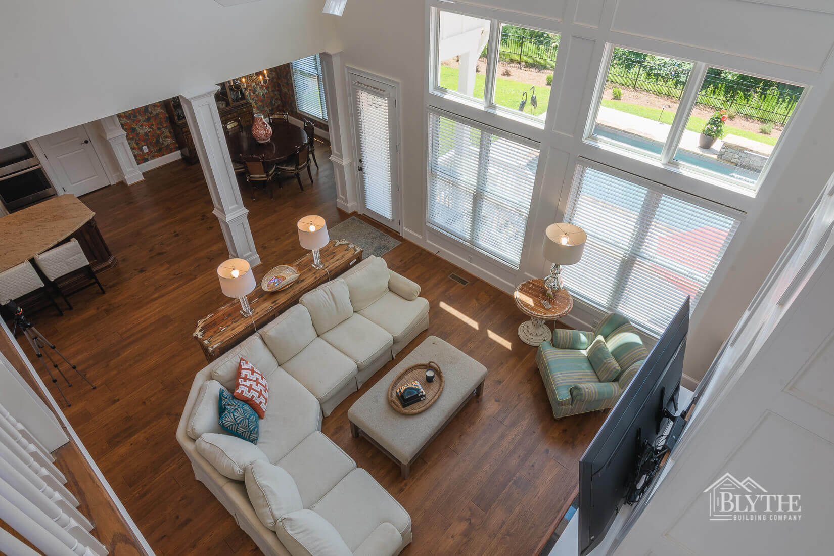view from second floor on living area alt home builder sc