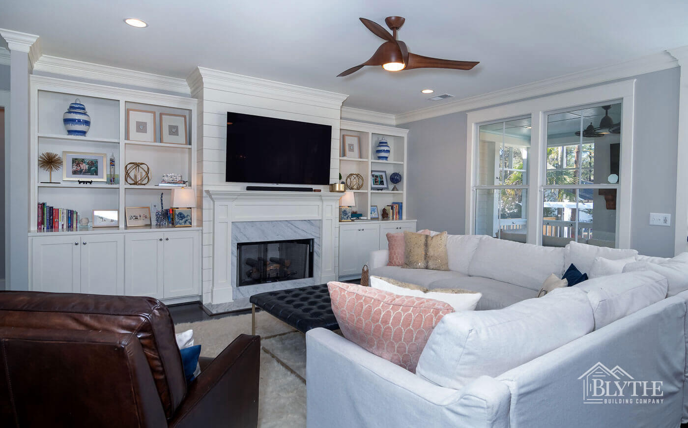 Beautiful shiplap fireplace living room home builder SC