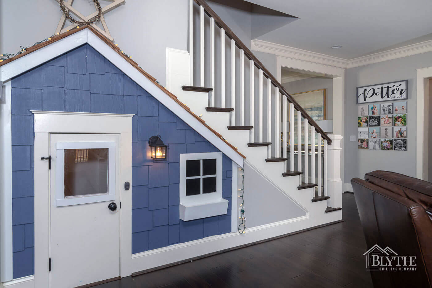 Built in childrens playhouse under stairs home builder SC