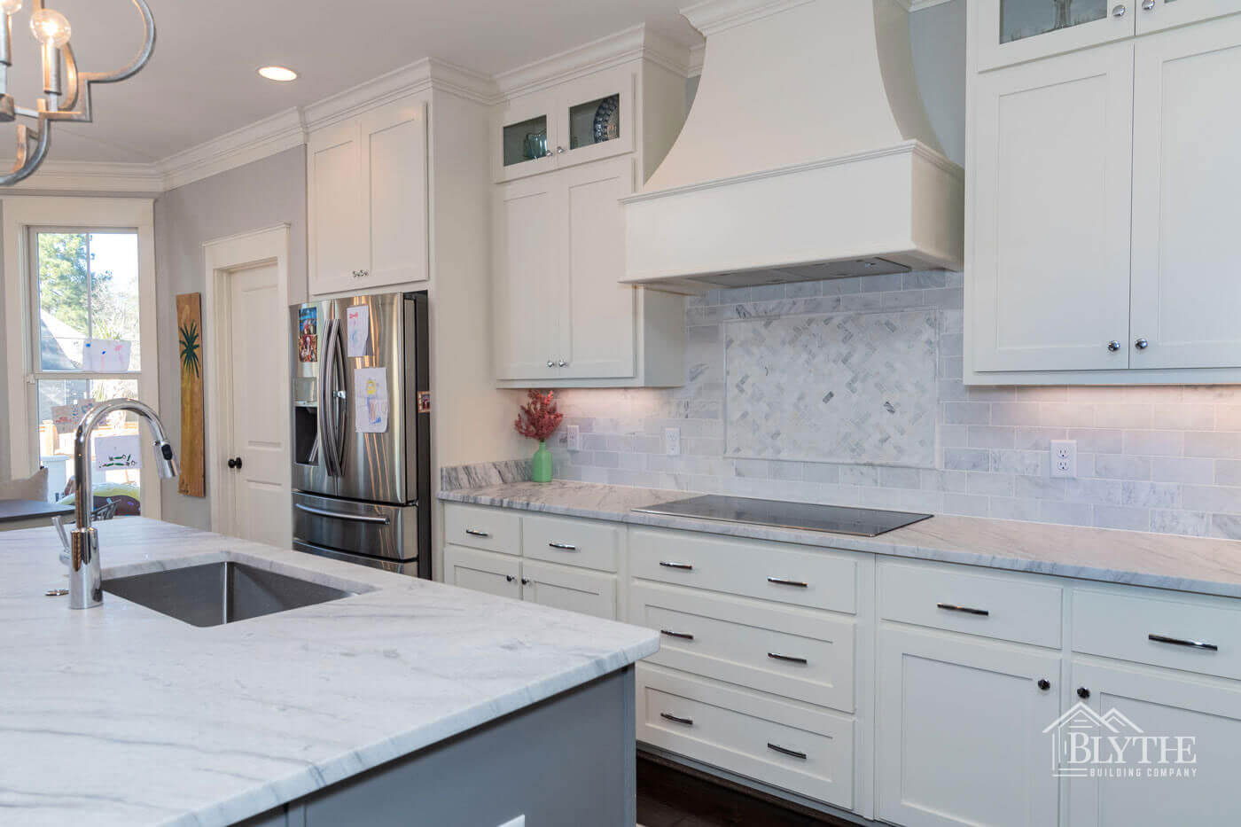 Luxury gray and white kitchen home builder SC