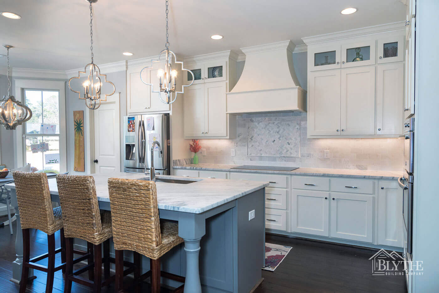 Luxury kitchen with marble island home builder SC
