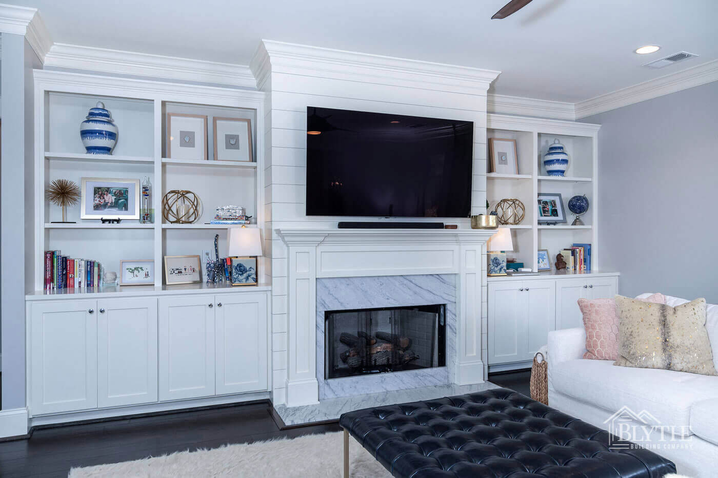 Marble fireplace shiplap home builder SC