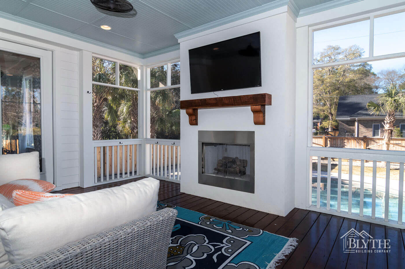 Screen porch fireplace outdoor living room home builder SC