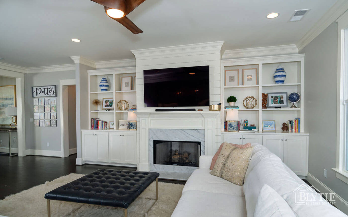 Shiplap and marble fireplace living room home builder SC