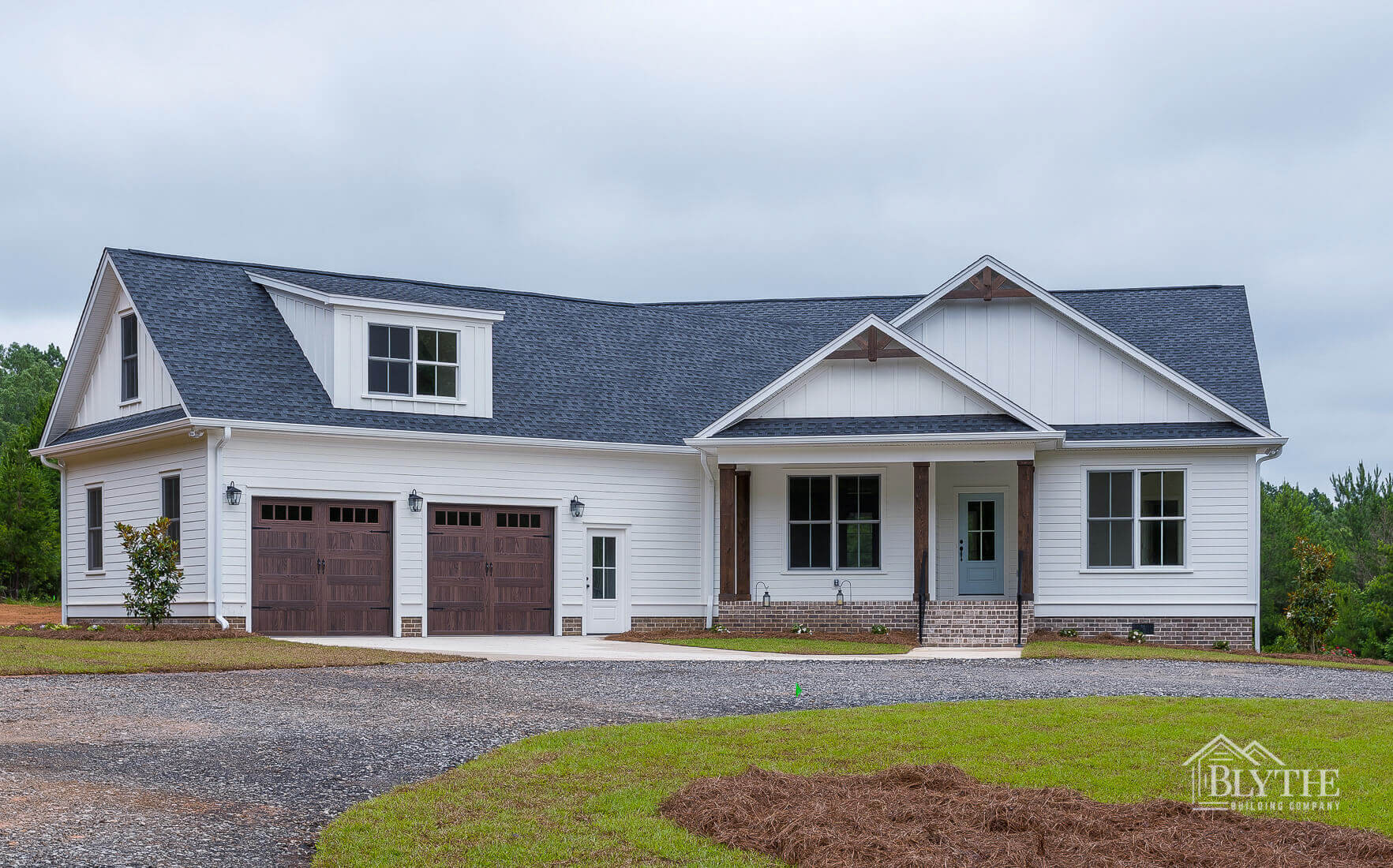 exterior front view two door garage home builder sc
