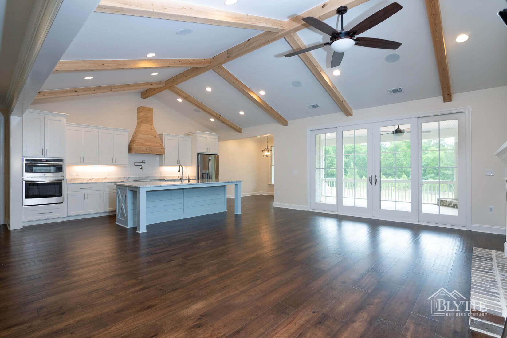 open living area with view of kitchen home builder sc